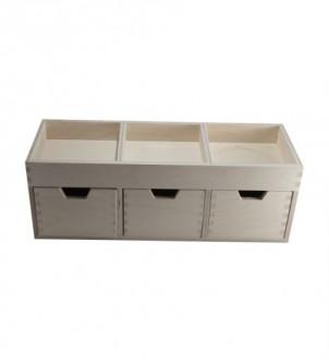 Drewniany organizer do biura z 3 szufladami