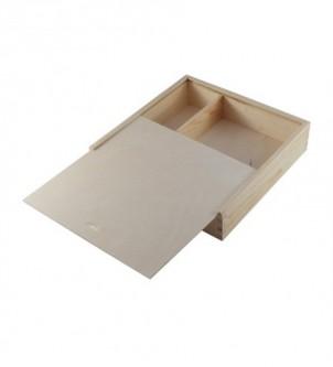 Drewniane pudełko na zdjęcia i pendrive