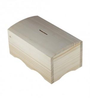 Drewniana skarbonka szkatułka na monety