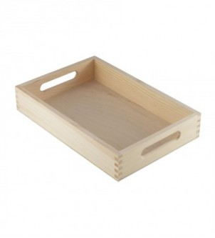 Tacka drewniana z uchwytami 30x20x5cm